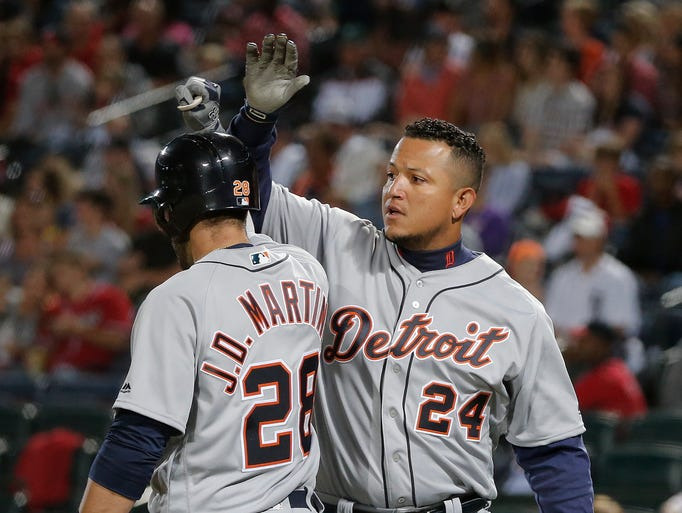 Detroit Tigers' Miguel Cabrera (24) celebrates with