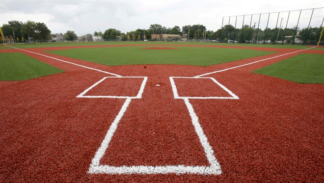 The restored League Park field in Cleveland.