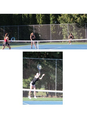 (Top) Number 1 doubles team, Megan Stevens and Alexis Garza, watch where the ball will land for Garza's return shot, in their match against Fairmont on Sept. 3.  (Below) Brooklyn Moldan, at number 1 singles, launched a serve in her match against Fairmont.