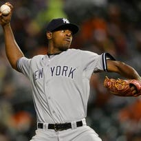 Yankees starting pitcher Luis Severino pitches during the third inning Baltimore Orioles at Oriole Park at Camden Yards.