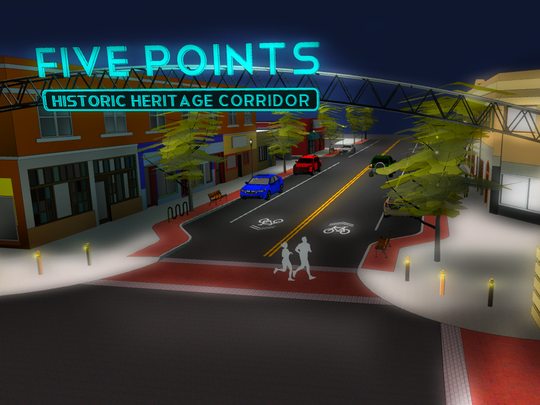 An artist's rendering of what the Five Points Heritage Corridor could look like.