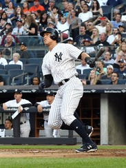 New York Yankees right fielder Aaron Judge hit a home