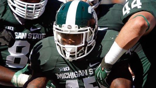 MSU linebacker Darien Harris