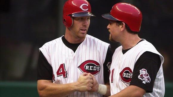 Adam Dunn (left) and Sean Casey in 2001.
