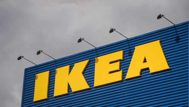 The logo of IKEA is pictured outside Europe's biggest Ikea store in Kungens Kurva, south-west of Stockholm.