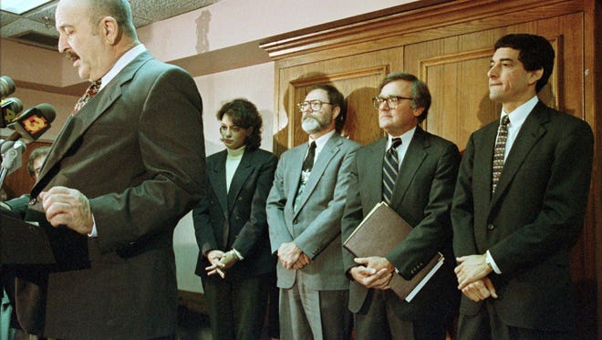 From the archives: Republican Lousiana Governor-elect Mike Foster, left, speaks to the press  Nov. 19, 1995 as his newly names staff stand behind him in Lafayette, La. His new staff are, from left: Brandi Bollinger, Special Assistant to the Governor; Terry Ryder, Special Counsel; Cheney Joseph, Executive Counsel; and Jay Dardenne, Senate Floor leader for Ethics, Campaign Finanace, Lobbying and Gambling Reform. Cheney has died at the age of 73.