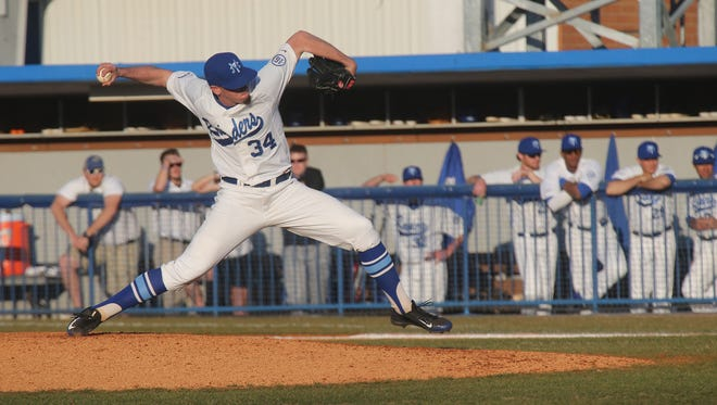 MTSU pitcher Will Jackson pitches against Indiana on Friday. Jackson ended up allowing two earned runs in the 14-4 loss.