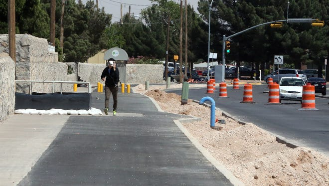 This section of bike lane has been paved along Viscount Blvd. near the intersection with Montwood Drive in East El Paso.