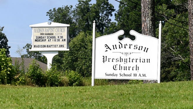 Madison Baptist Church and Anderson Baptist Church are located directly across the street from each other on Steam Mill Ferry Rd, in Jackson. The two church have a shared history with one another.