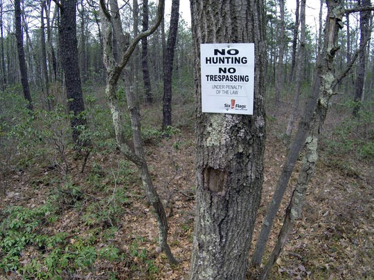 THOMAS P. COSTELLO/Staff photographerA total of 18,965 trees are slated for removal. Environmental activists Wednesday, April 22, 2015, denounced Six Flags Great Adventure's plan to clear cut some 18,000 trees to build a 90 acre solar farm at this site in Jackson Township, NJ. ASB 0422 solar farm hike SOLARFARM0422L JACKSON TOWNSHIP, NJ STAFF PHOTO BY THOMAS P. COSTELLO
