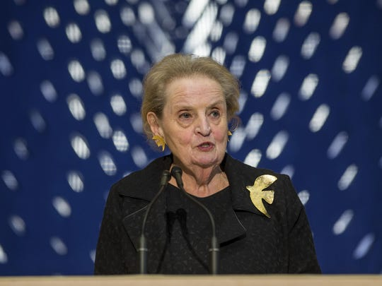 Former Secretary of State Madeleine Albright at a memorial service for former Israel Prime Minister Shimon Peres. Albright spoke at a Northville Democratic Club event and said Trump doesn't have the temperament and character to be commander in chief.