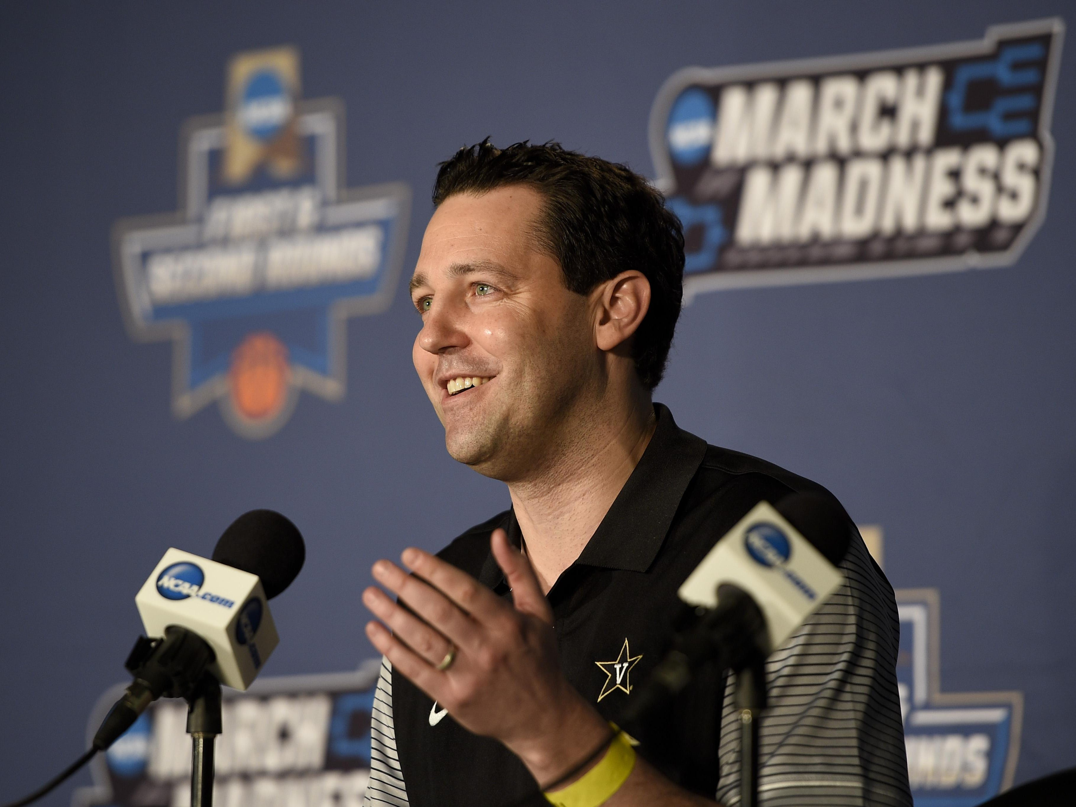 Vanderbilt coach Bryce Drew talks during an interview with the media Wednesday at Vivint Smart Home Arena.