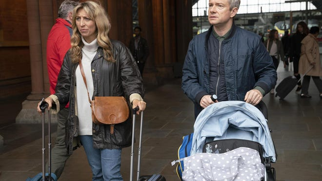 "British actors Daisy Haggard and Martin Freeman star in ""Breeders."""