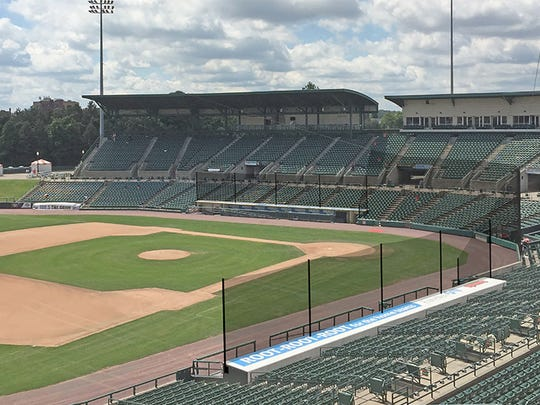 The safety netting at Frontier Field extended to the end of the dugouts starting in 2018, as this pre-installation rendering shows.