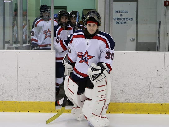 Livonia United goalie Maddie Marciw leads her team