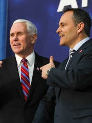 Mike Pence and Matt Bevin have a longstanding relationship, including this March 2018 event in Kentucky.