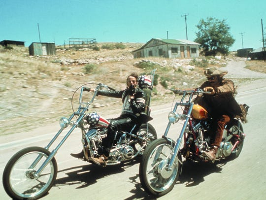 "Peter Fonda (left) and Dennis Hopper in ""Easy Rider."""