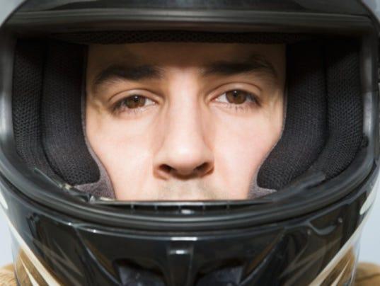 Man in a motorcycle helmet
