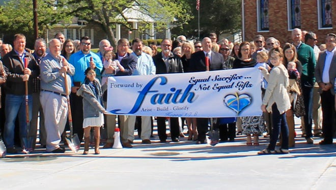 Over 200 church members and friends were on hand April 8, 2018, for the official ground-breaking ceremony for the new church.