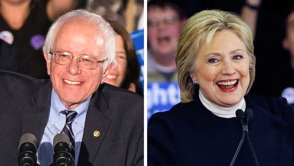 Democratic candidates Bernie Sanders and Hillary Clinton