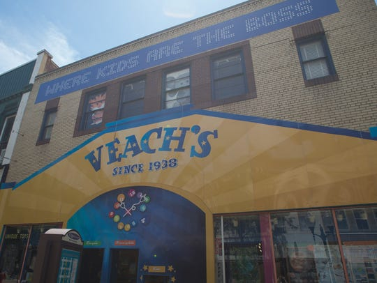 The outside of Veach's Toy Station, 715 E. Main St.,