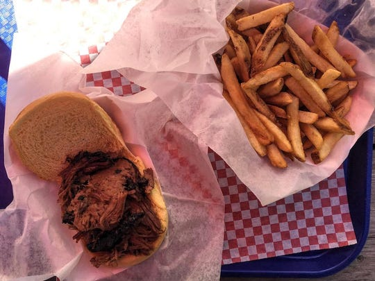 Brisket sandwich and fries from The Round Up make a tasty meal.