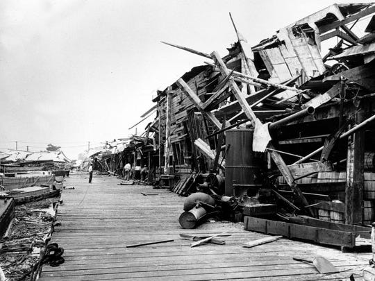 In this 1916 file photo, a pier is in ruins following the explosion of a munitions plant at Black Tom Island in Jersey City, N.J.