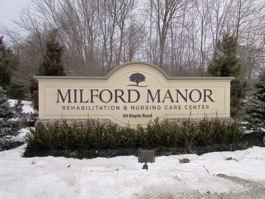 A sign outside of Milford Manor Rehabilitation and Nursing Care Center on Maple Road in West Milford Township.