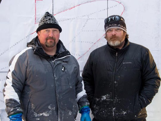 Brian McKinney, left, of Great Falls is competing at Ice Alaska, the world ice sculpting competition, in Fairbanks, Alaska with Jeff Kaiser of Pennsylvania.
