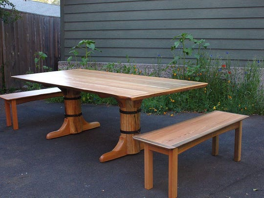 A custom Flathead Lake Larch table built by a Seattle resident whose family has ties to Flathead Lake and wanted an heirloom dining table.