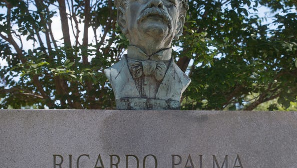 Ricardo Palma bust on display in Miraflores Park off