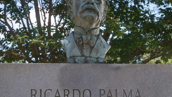 Ricardo Palma bust on display in Miraflores Park off