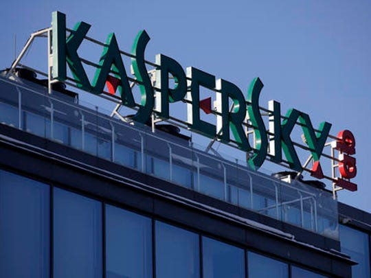 A sign above the headquarters of Kaspersky Lab in Moscow, Russia, on Monday, Jan. 30, 2017. Moscow has been awash with rumours of a hacking-linked espionage plot at the highest level since cyber-security firm Kaspersky said one of its executives with ties to the Russian intelligence services had been arrested on treason charges.