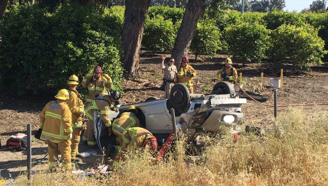 Two people were taken to a hospital after a crash on Highway 126 Saturday near Santa Paula.
