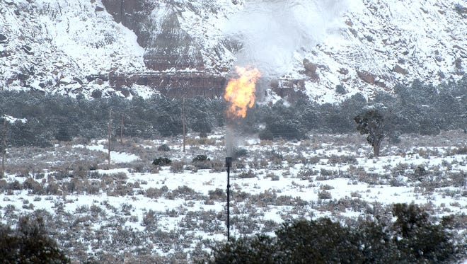 A flaring stack is pictured Jan. 8 near Lybrook.