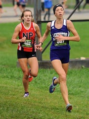 Lexington's Carina Weaver runs in the state cross country meet Saturday, Nov. 4, 2017, at National Trail Raceway in Hebron.