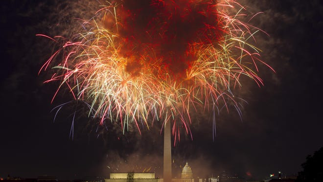 FILE - In this July 4, 2018, file photo, fireworks explode over Lincoln Memorial, Washington Monument and U.S. Capitol, along the National Mall in Washington, during the Fourth of July celebration. Independence Day is just over three weeks away, and nobody in Washington seems to know exactly what the July 4 celebrations in the nationâs capital will look like. President Donald Trump has stated he wants to reshape the annual event into a âSalute to Americaâ that would feature Trump himself speaking from the steps of the Lincoln Memorial.