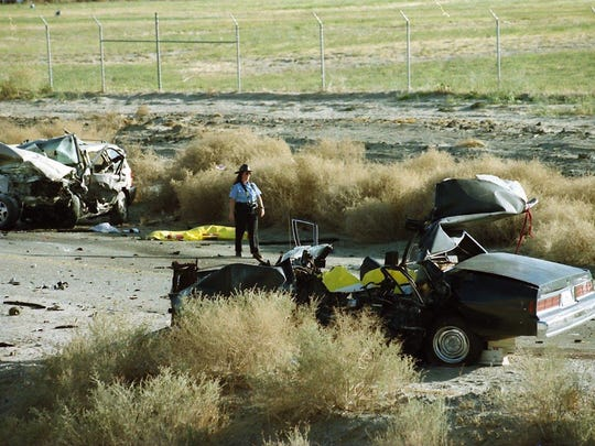 Two people were killed during a police chase through in Indio on March 6, 1996. Kevin Woods, the fleeing driver, and Felipe Granados, a bystander, were killed.