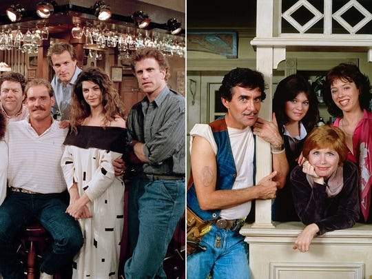 """Boston sports star Wade Boggs, left, made a cameo appearance on """"Cheers."""" Indianapolis was the setting for """"One Day at a Time."""""""