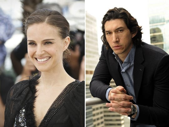 """Natalie Portman, left, portrayed Padme Amidala in three """"Star Wars"""" films. Adam Driver will make his """"Star Wars"""" debut with """"The Force Awakens."""""""