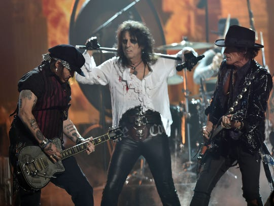 Hollywood Vampires (with Alice Cooper, center, on vocals)