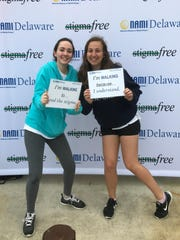Sanford Schools senior Leah Fritz and junior Shelby Ward participated in the 2017 National Alliance for Mental Illness's walk last weekend.