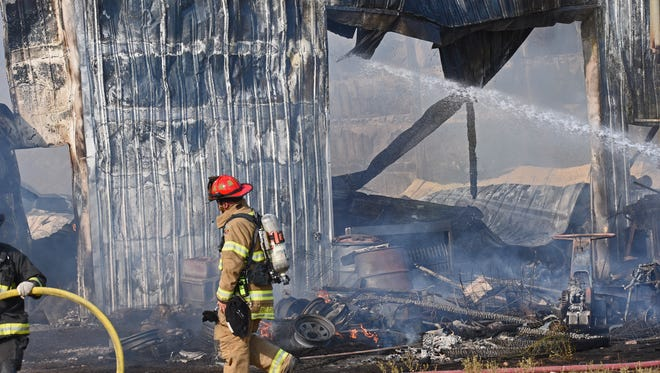 Firefighters from Windsor Severance Fire Rescue, Eaton, Johnston, Greeley, and Ault were were dispatched at 4:15 Tuesday afternoon to fight a structural barn fire in rural NE Windsor. The fire near the intersection of County Roads 19 and 70 was a total loss to the barn and contents and was difficult to fight because of lack of available water to the area.  Water trucks from the five fire departments and cities were used to provide water to fight the fire.