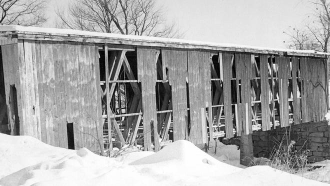 The County Farm covered bridge was built about 1870. The major supporting element was a 112-foot Howe truss. The bridge was 20 feet wide and had a flat roof. The bridge was badly in need of repair and was restored in 1977. It burned down in September1981. The fire was suspicious in origin.