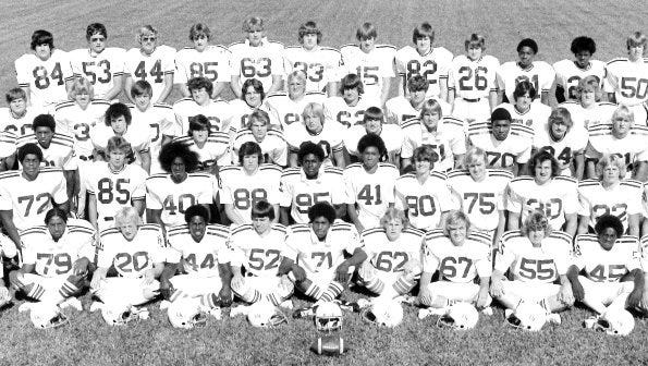 GLEANER FILE PHOTO The 1976 Henderson County football team, the first after the merger of the City and County school systems, finished the regular season with an 11-0 record and reached the 4-A state championship game.