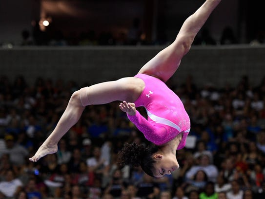 Laurie Hernandez during the balance beam in the women's