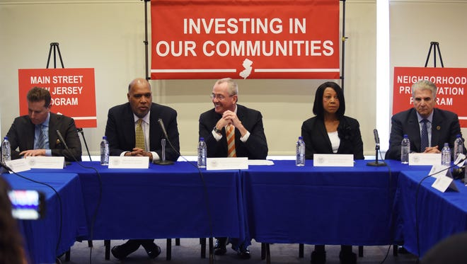 Gov. Phil Murphy, center, speaks about Main Street NJ and neighborhood preservation at Montclair Fire Headquarters on Thursday, April 12, 2018, along with, from left, Essex County Freeholder Brendan Gill, Montclair Mayor Robert Jackson, Lt. Governor Sheila Oliver and County Executive Joseph N. DiVincenzo Jr.
