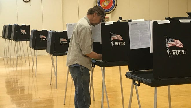 John Donaldson casts his ballot at the nearly empty Redding Veterans Memorial Hall during the June primary.