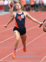 Galion's Marisa Gwinner crosses the finish line after the 400 meter relay during the Division II state finals on Saturday at Jesse Owens Memorial Stadium in Columbus.