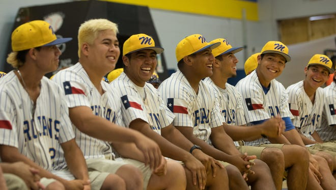 Moody baseball players laugh during a pep rally before  they head to the state tournament, Tuesday, June 6, 2017.